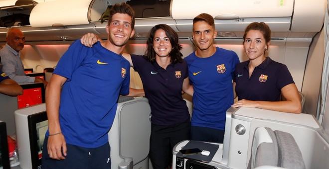 """Polémica en el primer viaje mixto del Barça: el equipo masculino vuela en """"business"""" y el femenino en turista"""