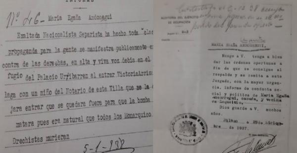 Documentos de la condena de Mari Egaña ´Ondarru`