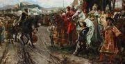 Cuadro 'La rendición de Granada', del pintor Francisco Pradilla y Ortiz, finalizado en 1882, que representa el momento en que Boabdil entrega las llaves de la ciudad a los Reyes Católicos